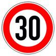 Leinwandbild Motiv Verkehrszeichen Tempolimit 30 auf weissem Hintergrund