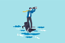 Career Future Or Job Opportunity, Being Ignore Or Overlook By Boss Or Colleagues, Uncertainty In Work Or Career Path Concept, Lonely Businessman Standing Look For Near Future On Sinking Office Chair.