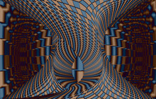 3D Illustration Of Geometric Background With Checkered Texture - Abstract Illusion