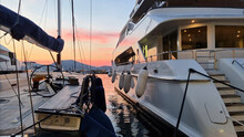 Sunset In The Port Of Saint Tropez, French Riviera