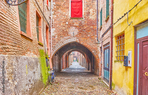 Fotografija The medieval arched passage in old Ferrara, Italy