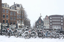 Bicycles In The Snow In Amsterdam