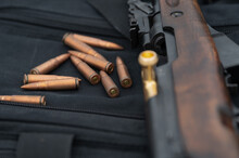 SKS Rifle With Ammunition In Focus