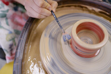 Painting Ceramic Pot With Red Color