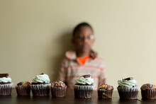 Row Of Decorated Cupcakes On Table