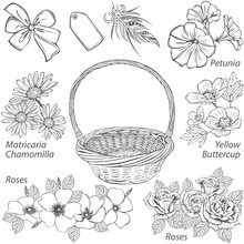 Basket With Different Flowers