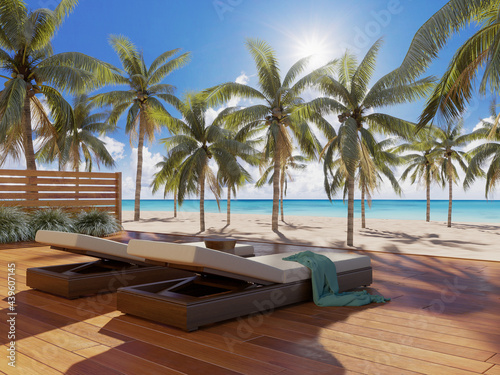 Obraz na plátně 3d render of a Summer exotic beach in the Carribean sea with sun loungers and pa