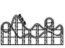 Roller Coaster. Sketch Scratch Board Imitation Color. Engraving Raster.