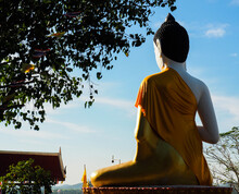 View Of Buddha, Buddha Statue At The Temple On A Hill, Central Of Thailand