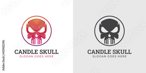 Stampa su Tela skull head with fiery candle for eternal life logo design can use halloween fest