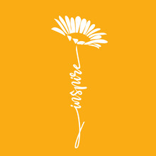 Silhouette Of Flower Daisy And Hand Written Word Inspire. Vector Illustration.