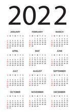 Calendar 2022 - Illustration. Week Starts On Sunday