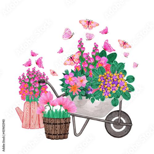 Murais de parede Garden aluminum wheelbarrow with flowers and butterflies
