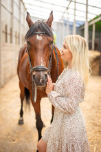 A Young Rider Woman Blonde With Long Hair In A Dress Posing With Brown Horse Inside Light Stable, Russia