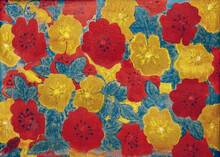 Painting With Red And Yellow Flowers, Poppies And Green Leaves, Cracked Texture, Handmade