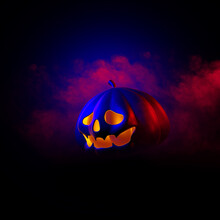 Happy Halloween Design With Pumpkins On Dark Background. Space For Text. Flat Lay. 3D Illustration