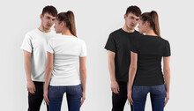 Mockup Of A Fashionable White, Black T-shirt On A Girl, Back View, And A Guy, Front View, Isolated On The Background.