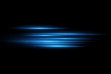 Vector Illustration Of A Blue Color. Light Effect. Abstract Laser Beams Of Light. Chaotic Neon Rays Of Light .
