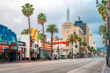 Streets in Hollywood on the Walk of Fame in Los Angeles on a cloudy day. Los Angeles, USA - 23 Apr 2021