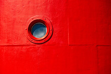 Round Viewing Window In Lighthouse On Vlieland Island In The Netherlands.