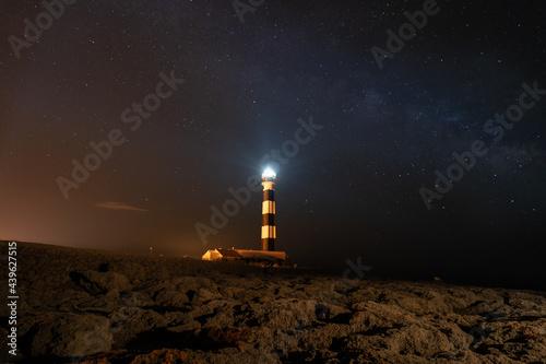 Vía láctea en Menorca, faro iluminando el cielo con rocas de acantilado