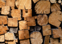 Dry Chopped Firewood Stacked. Wood Background For Fireplace, Barbecue