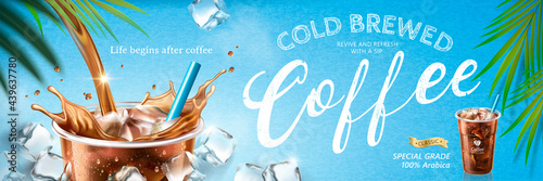 Cold brewed coffee banner ads Fototapet