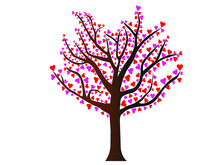 A Tree With Pink And Red Hearts. Isolated Editable Object. A Symbol Of Love And Romance.