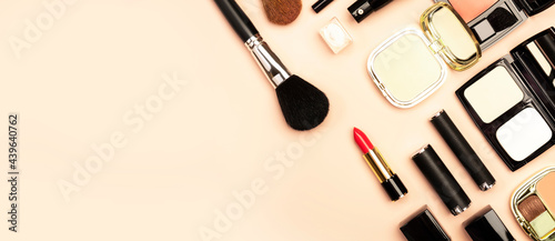 Obraz na plátně Professional Decorative Cosmetics, make-up products and accessories on nude pink background, minimal style