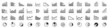 Growing Bar Graph Icon Set. Business Graphs And Charts Icons. Statistics And Analytics Vector Icon. Statistic And Data, Charts Diagrams, Money, Down Or Up Arrow. Vector Illustration.