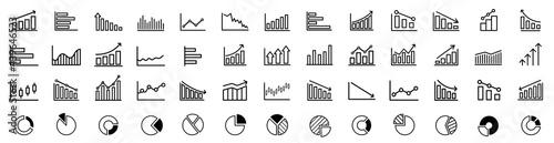 Fotografía Growing bar graph icon set