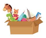 Fototapeta Dinusie - toys in box
