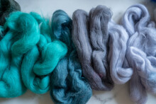 Colorful Wool Roving- Blues