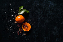 Tangerine With Crunchy Flakes And Chocolate Garnish