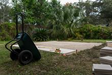 Paver Patio Building In A Backyard