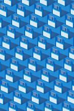 Pattern Of Blue Floppy Discs On Blue Background