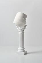 Plaster Antique Column With Toilet Paper