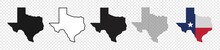 Texas Map Icon Set, Texas Map Isolated On Transparent Background, Vector Illustration