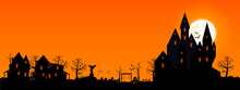 Halloween 2021. City Panorama In Halloween Style. Scary Halloween Isolated Background. Orange And Yellow Background. Vector Illustration.