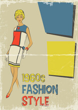 1960s Fashion Style, Young Woman Model And Trend Vintage Dress