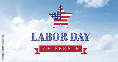 American flag on star and happy labor day text against clouds in blue sky