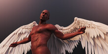 African American Man With Feather Angel Wings