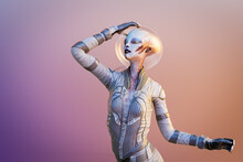Alien Woman With Spacesuit And Glass Helmet