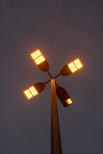 Amber Color LED Beach Lights In Parking Lot At Night
