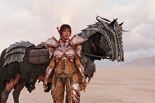 Fantasy Woman With Horse In Armour