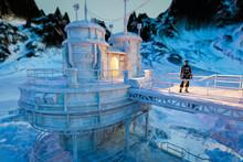 Explorer At Base In Frozen Wilderness