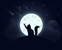 Cat In The Moonlight. Silhouette Of A Cat Sitting On A Hill Against The Background Of A Full Moon, Vector Illustration. The Cat Catches Falling Stars Against The Background Of The Moonlit Sky.