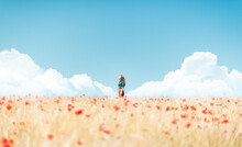 Girl Between Clouds At Sunny Spring Day