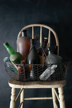 Closeup Of Old Bottles On Table