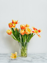 Glass Vase With Red And Yellow Tulips